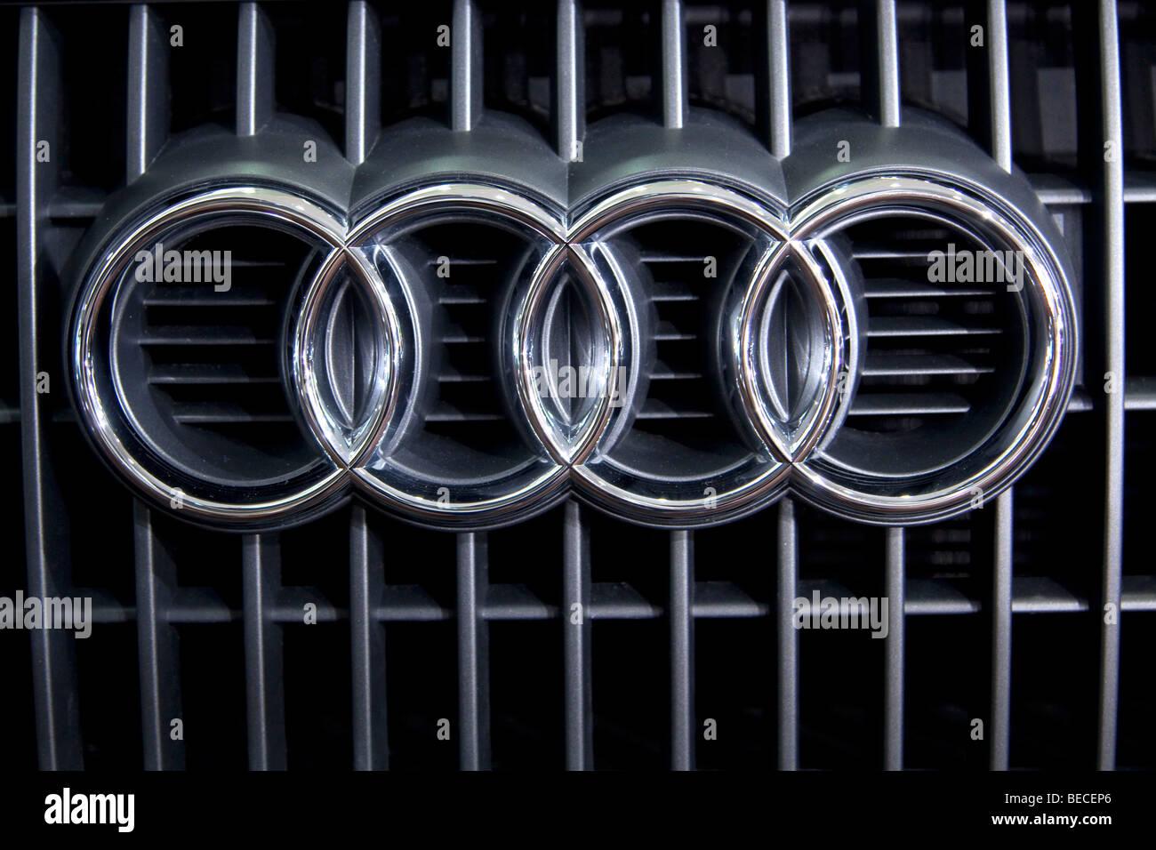 Audi emblem on a car - Stock Image