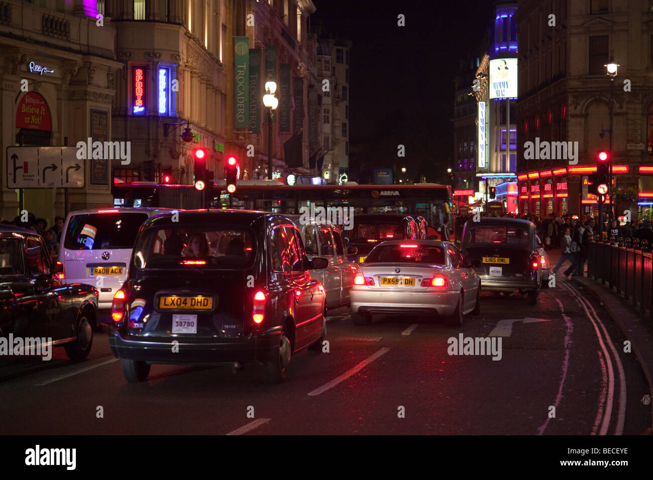 night traffic at Piccadilly Circus, London, England, UK - Stock Image