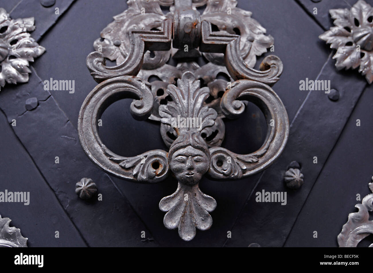 Door detail of the Italian embassy, Old town, UNESCO World Heritage Site, Prague, Czech Republic, Europe Stock Photo