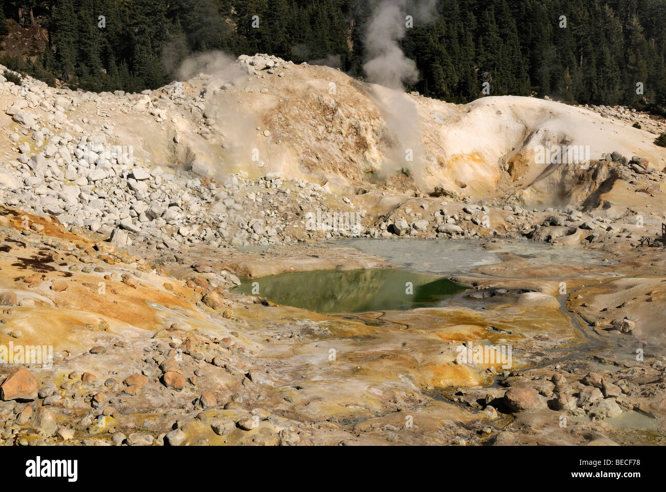 Fumaroles in the Solfatara field Bumpass Hell, Lassen Volcanic National Park, North California, USA - Stock Image