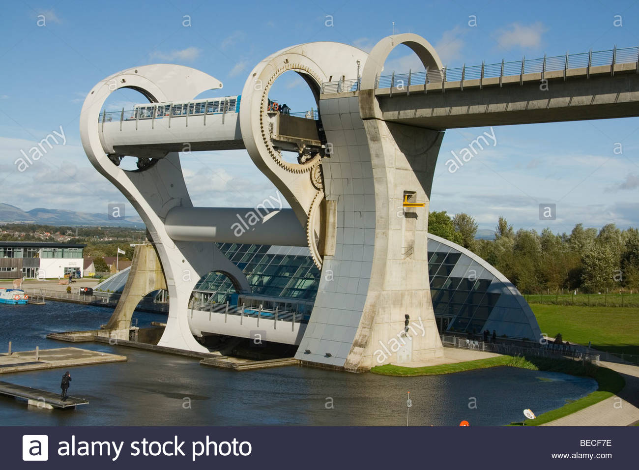 Scotland Falkirk Wheel showing boats in Rotation Trossachs - Stock Image