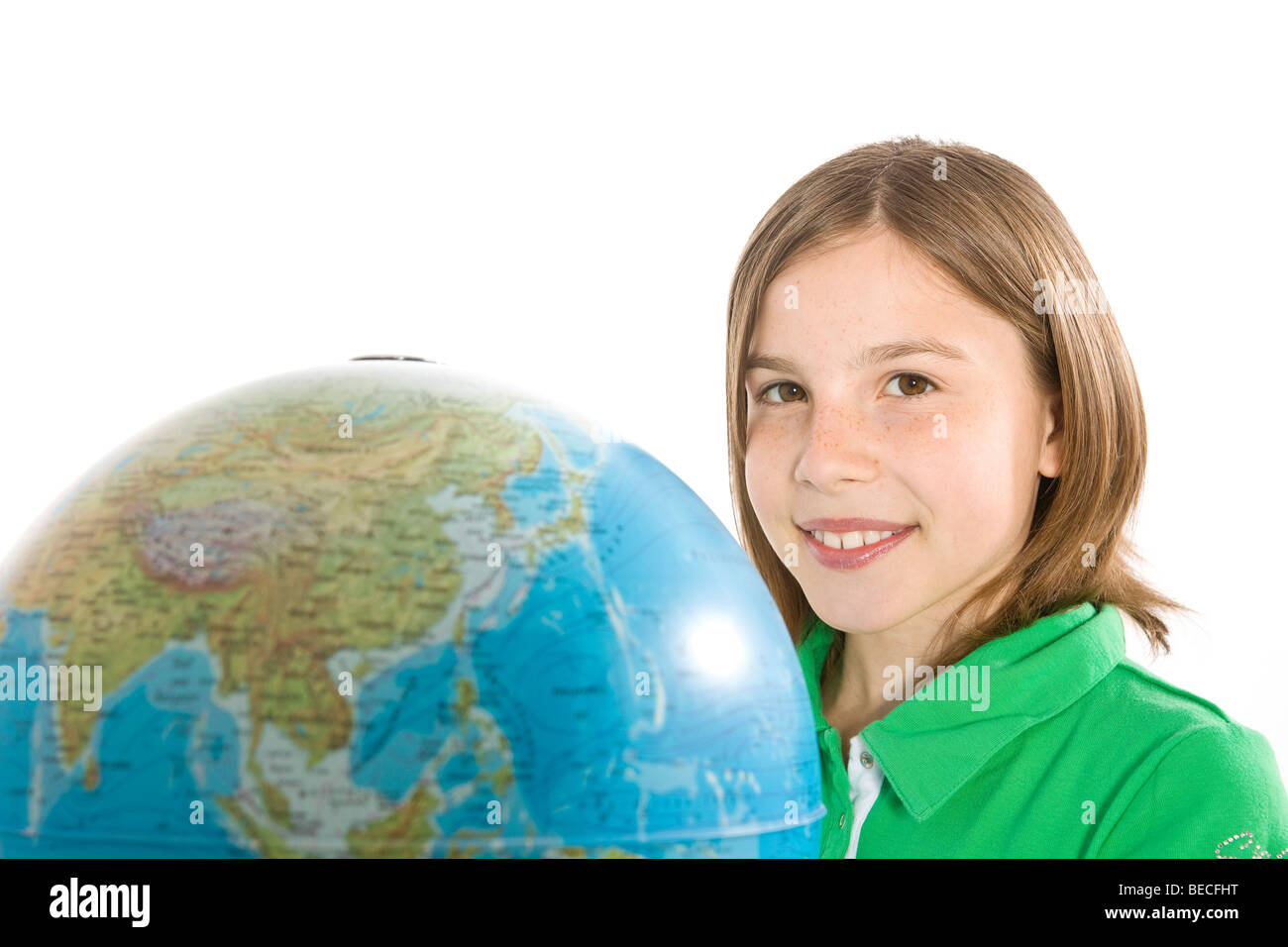 A girl and a globe - Stock Image