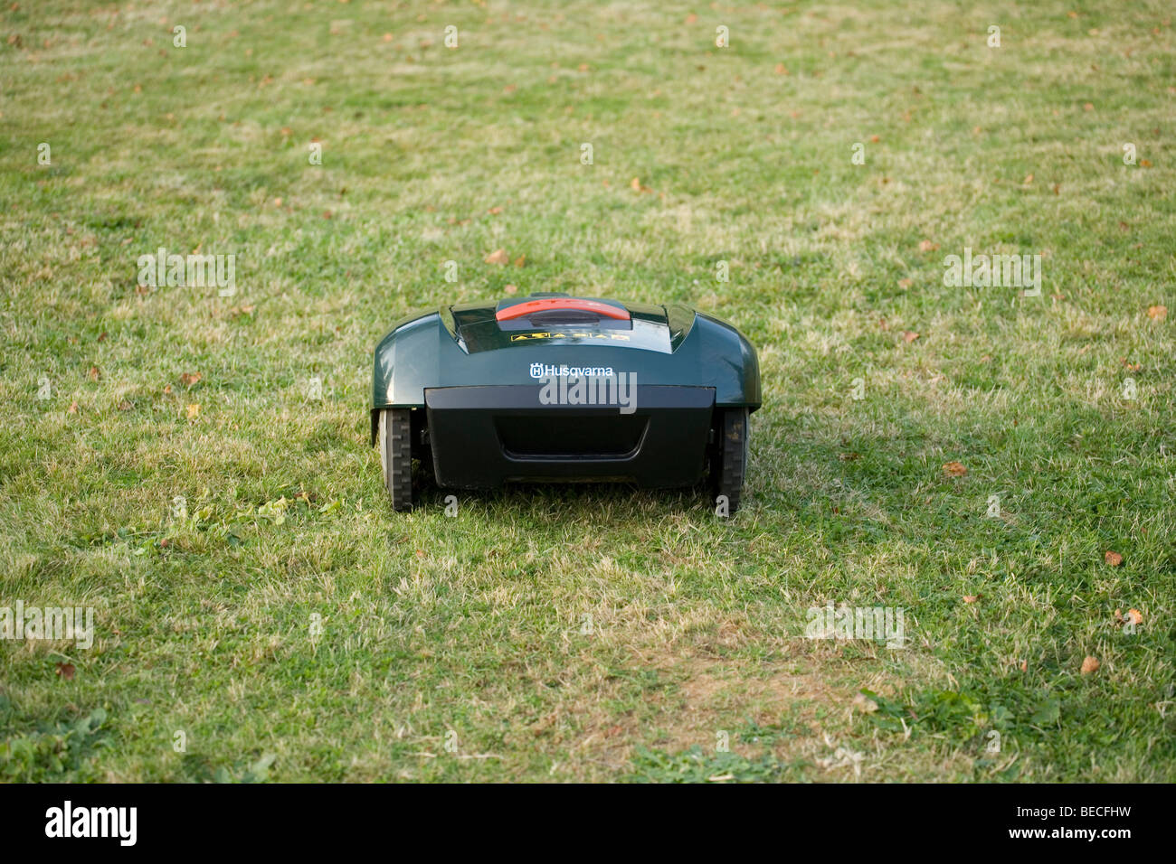 Automatic robot lawn mower cutting grass rear view - Stock Image