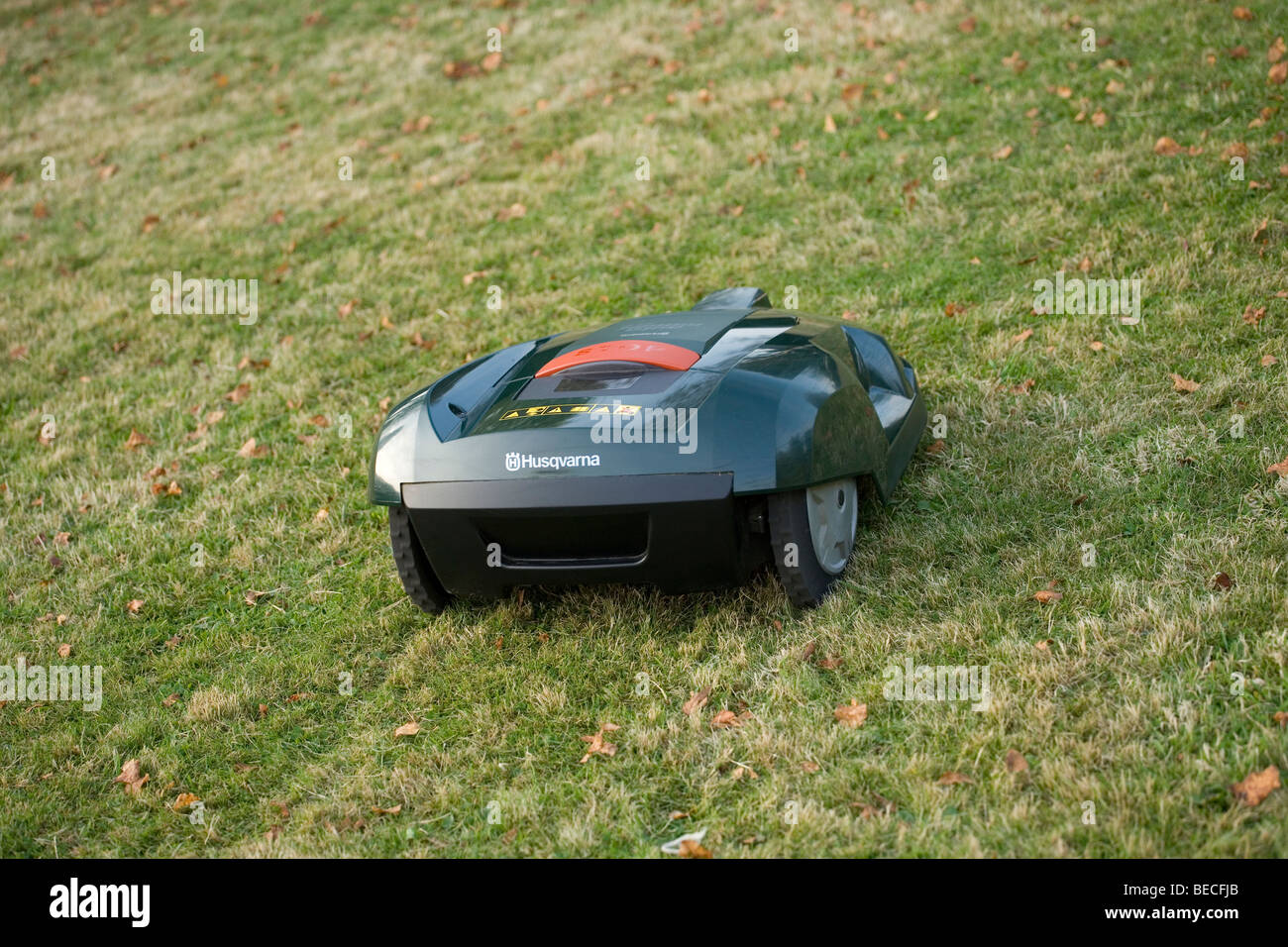 Automatic robot lawn mower cutting grass, rear view - Stock Image