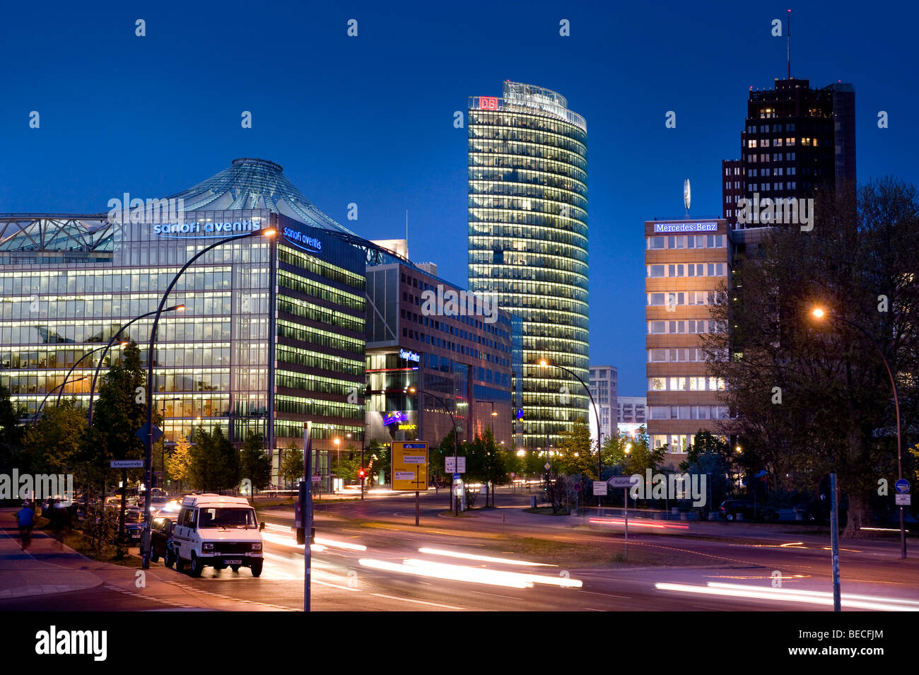 Potsdamer Platz, Potsdam Square, with BahnTower and the Sony Center, Berlin, Germany, Europe - Stock Image