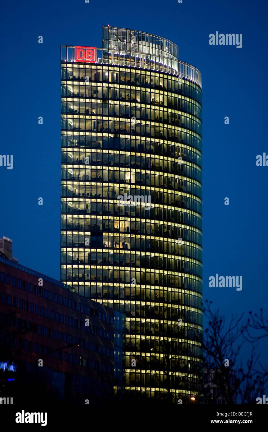Tower of Deutsche Bahn, BahnTower at Potsdamer Platz, Potsdam Square, Berlin, Germany, Europe - Stock Image