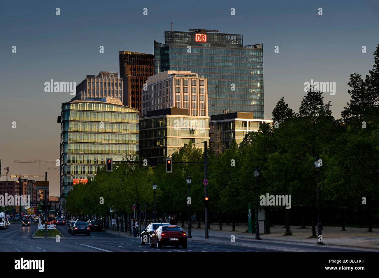 High-rise buildings on Potsdamer Platz, Potsdam Square, Berlin, Germany, Europe - Stock Image