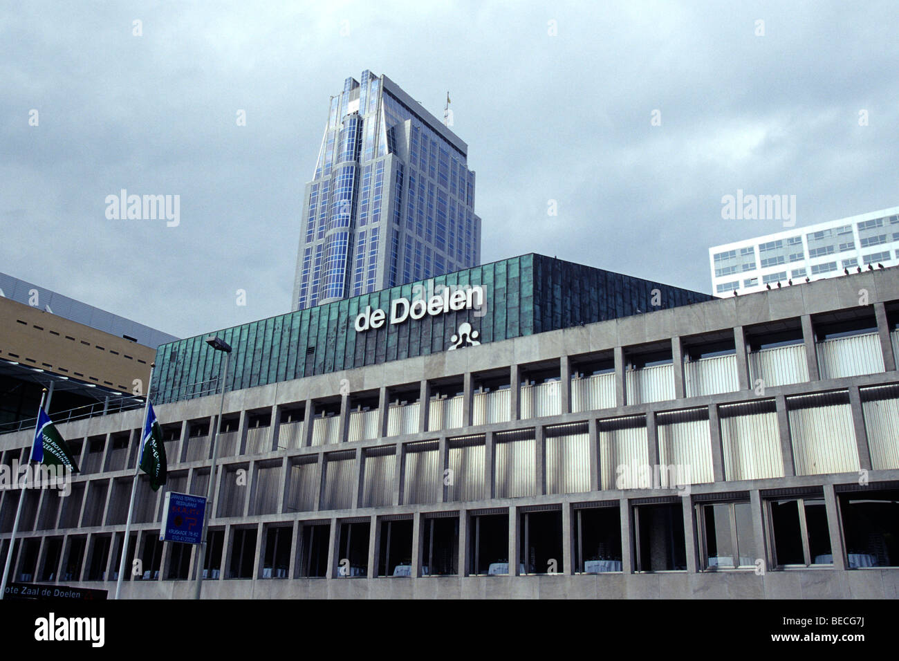 Modern architectur in the city centre, De Doelen, congress and philharmonic hall, The Westin Hotel in the Millenium - Stock Image