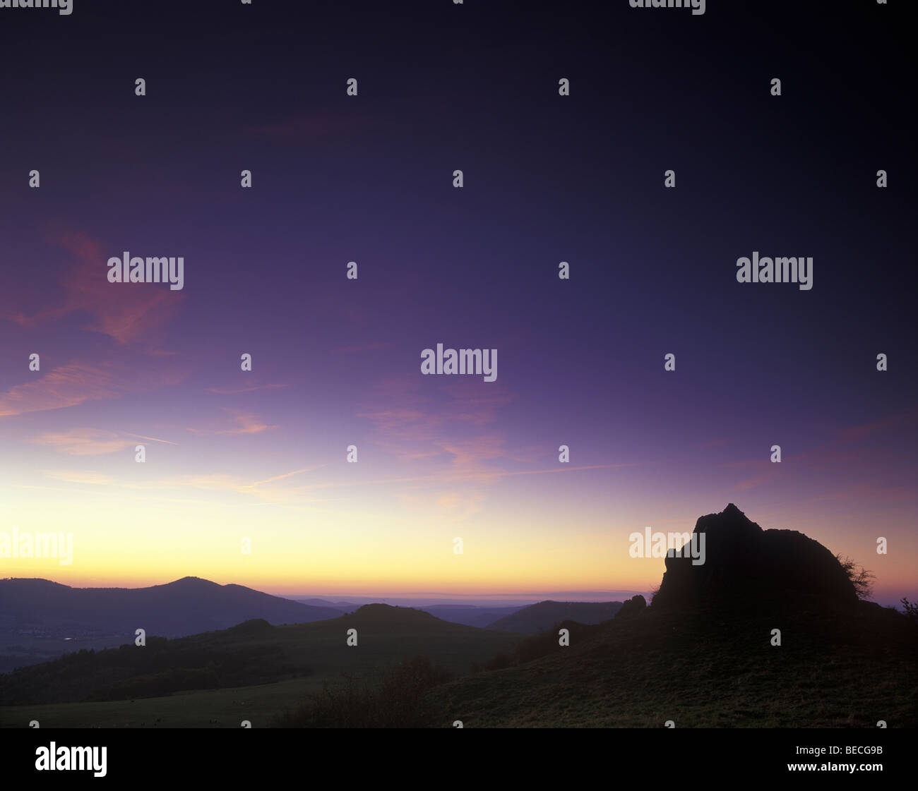 Helfensteine hills, Habichtswaeld mountainous basalt landscape, near Kassel, Hesse, Germany, Europe - Stock Image