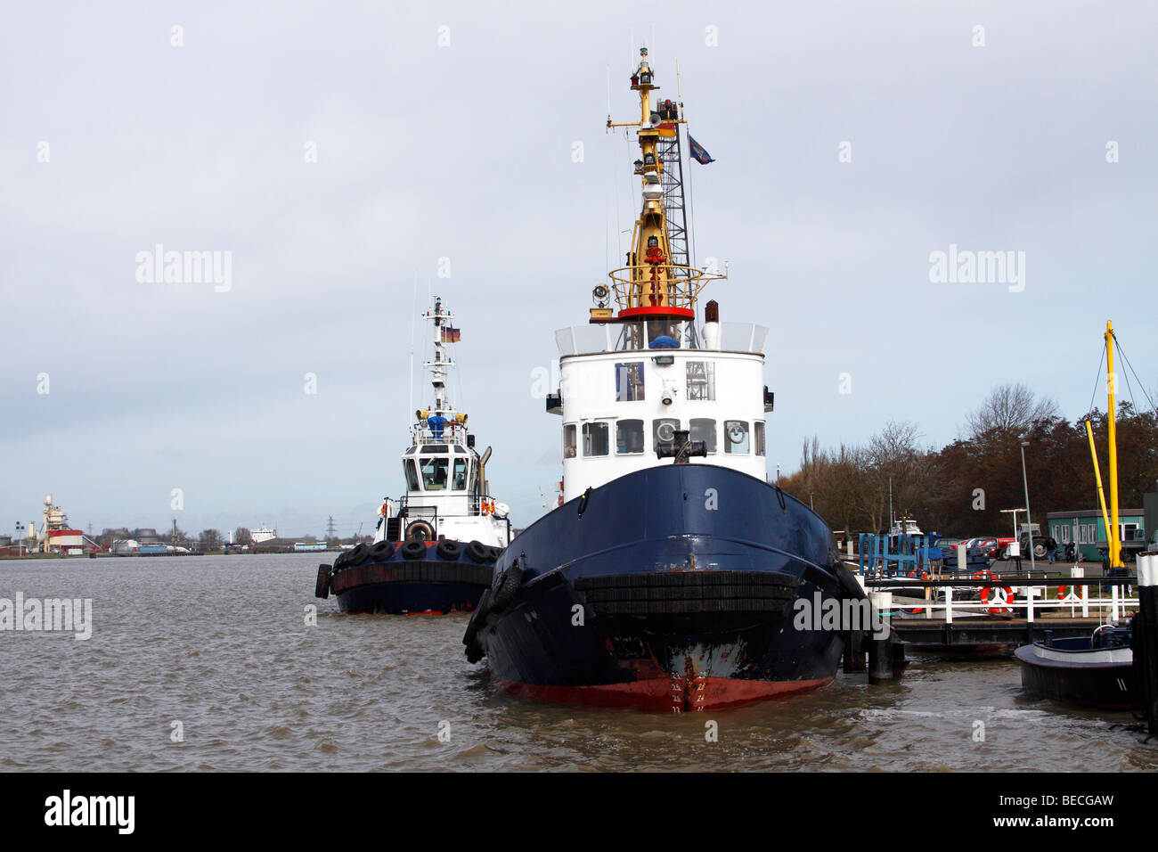 Ships, tug boats, pilot cutters on the Nord-Ostsee-Kanal, Kiel-Canal, Brunsbuettel, district Dithmarschen, Schleswig - Stock Image