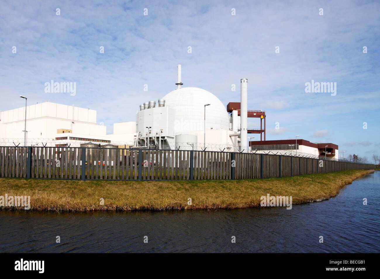 Atomic Power Plant, Nuclear Power Station in Brokdorf, Wilstermarsch, district Steinburg, Elbmarschen, Schleswig - Stock Image