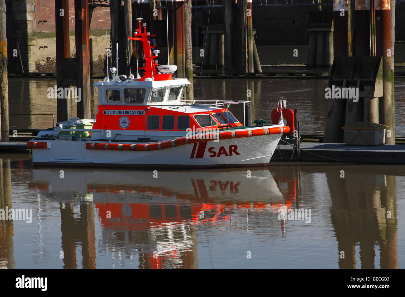 SAR rescue boat at the lock gates between the Elbe River and the Nord-Ostsee-Kanal, Kiel-Canal, boat 'Gillis - Stock Image