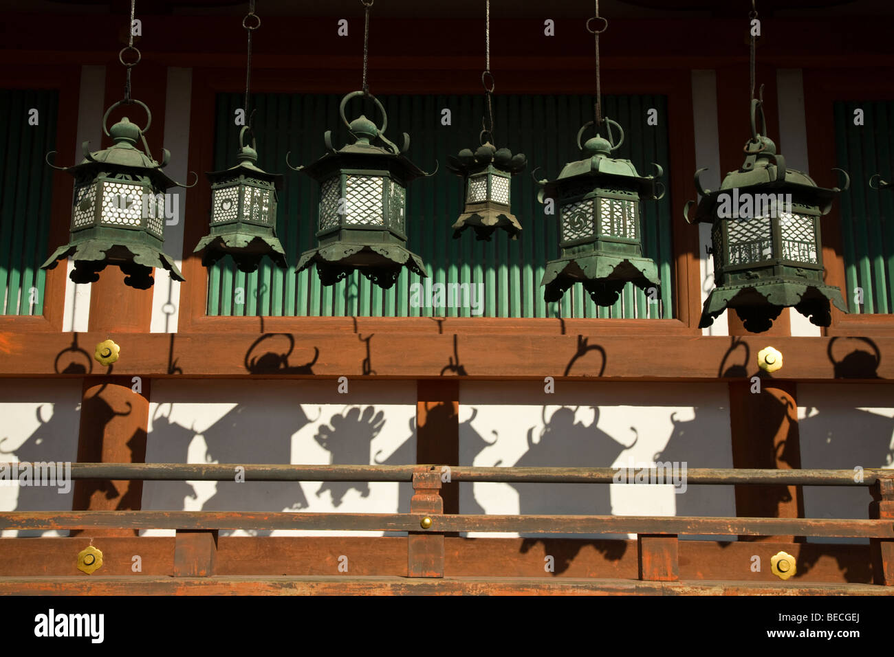 Japanese Lanterns at Kasuga Taisha Shrine in Nara - Stock Image