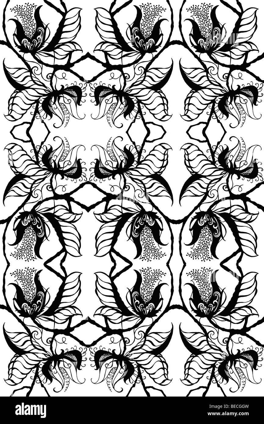 Repeated black on white drawing of exotic botanical blossoms, fanciful leaves and stems in a silhouetted design - Stock Image