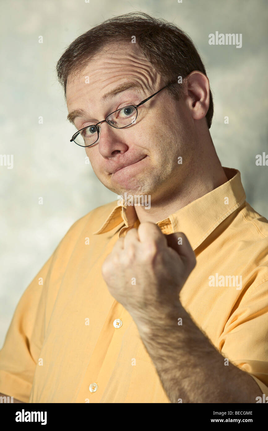 Man gesticulating, emotional, portrait, body language Stock Photo