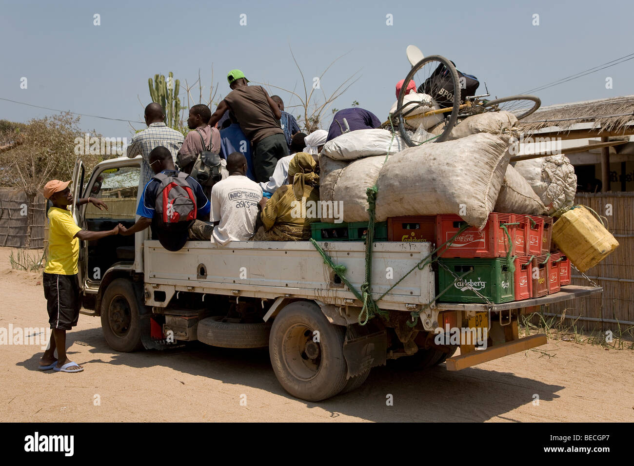 Shared taxi, fully loaded truck, Cape Maclear Peninsula, Lake Malawi, Malawi, South East Africa - Stock Image