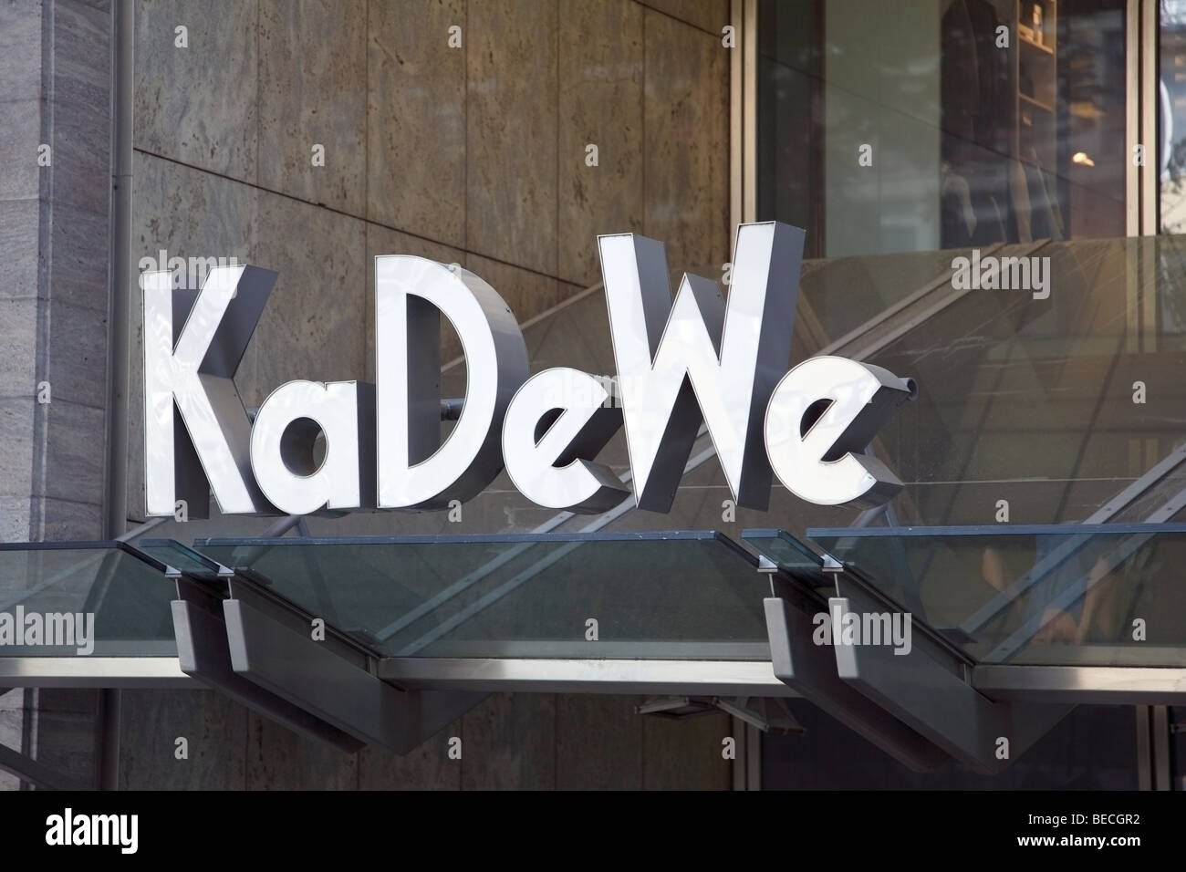 Neon advertising sign, KaDeWe, Kaufhaus des Westens, Department Store of the West, main entrance, Berlin, Germany, - Stock Image