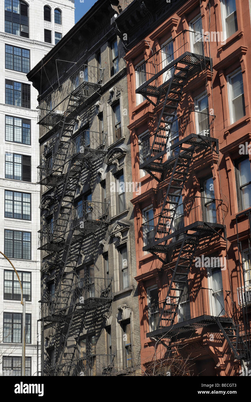 Old brick building with a fire escape ladder, New York, USA - Stock Image