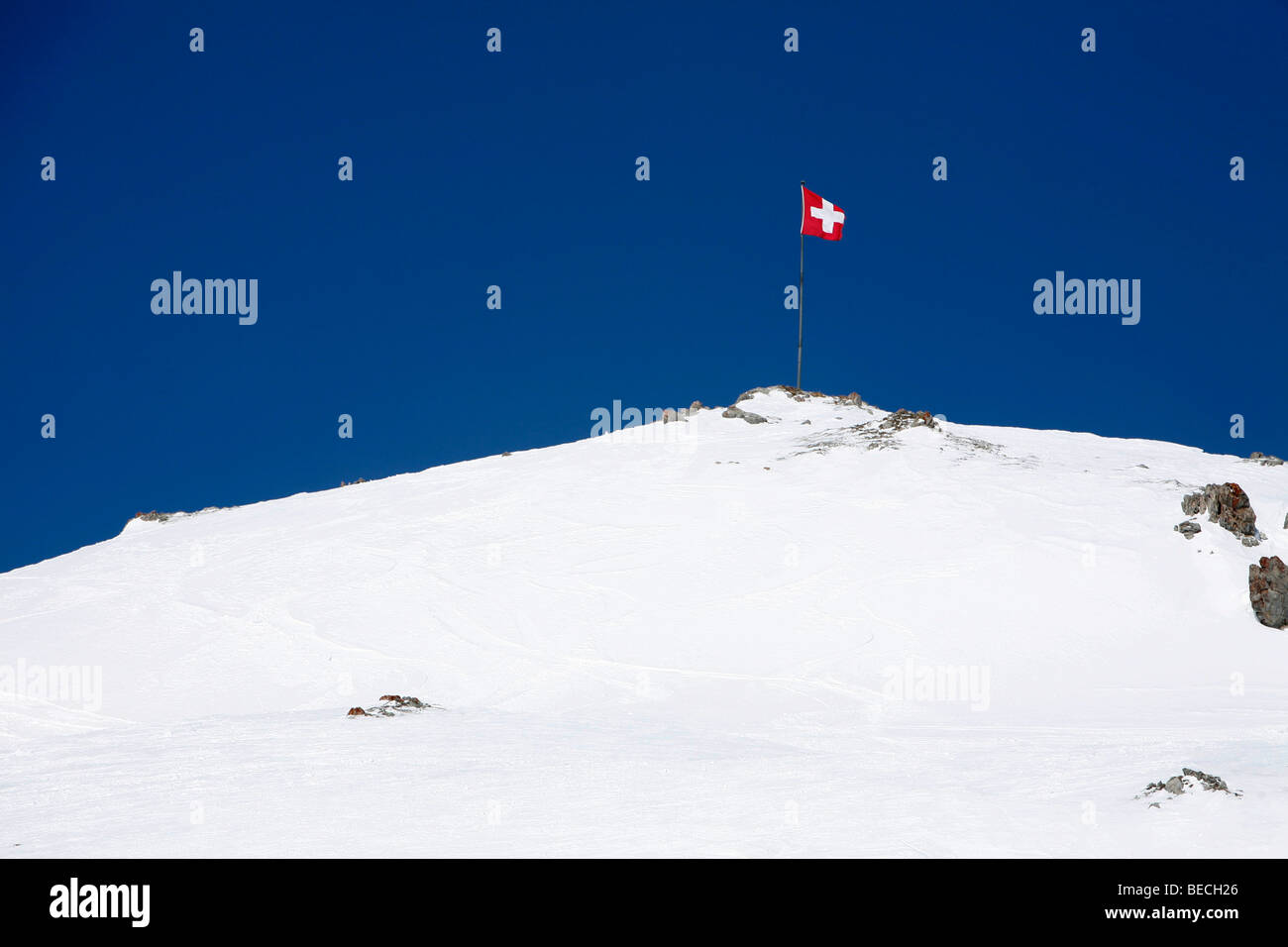 Skiiing, winter sport in the ski area Corviglia, St. Moritz, Oberengadin, Graubuenden, Switzerland - Stock Image