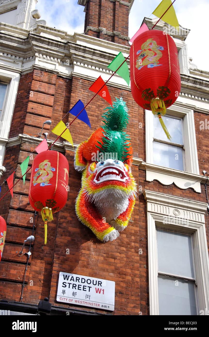 Chinese lanterns, Wardour Street, Chinatown, Soho, City of Westminster, London, England, United Kingdom - Stock Image