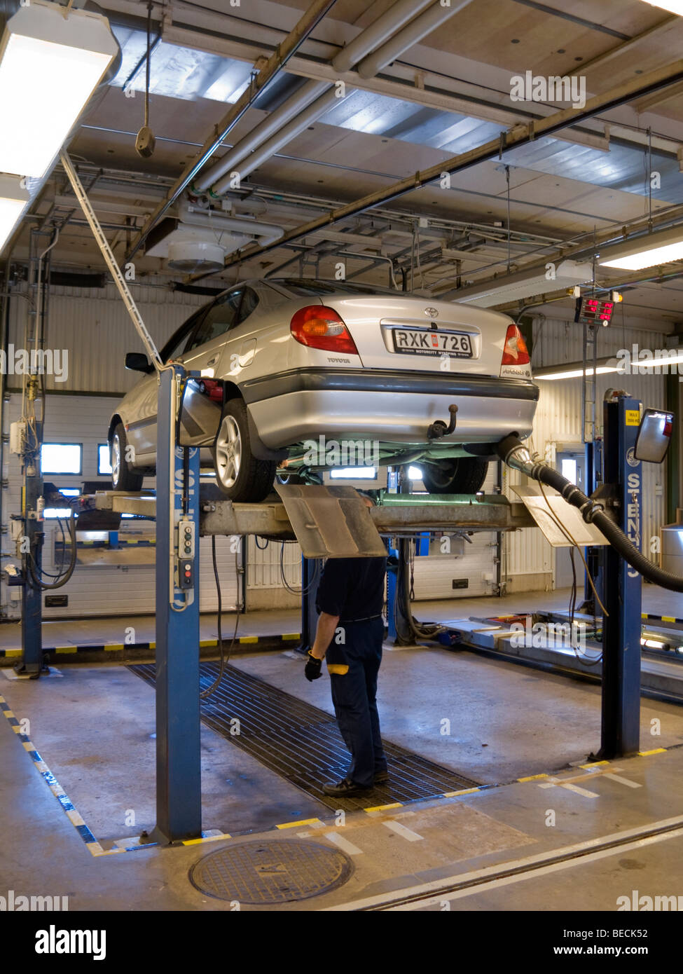 A Toyota being inspected by the Swedish Motor Vehicle Inspection Company - Bilprovningen. - Stock Image