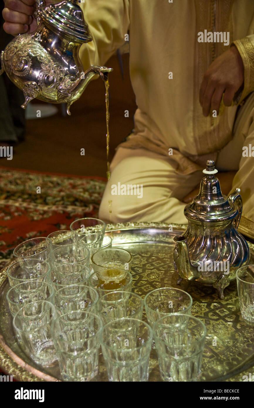 Serving peppermint tea, Arabia Stock Photo
