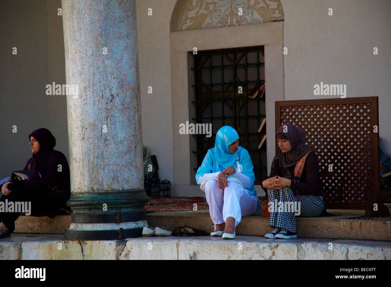 Women meet at the Mosque Sarajevo, Bosnia - Stock Image