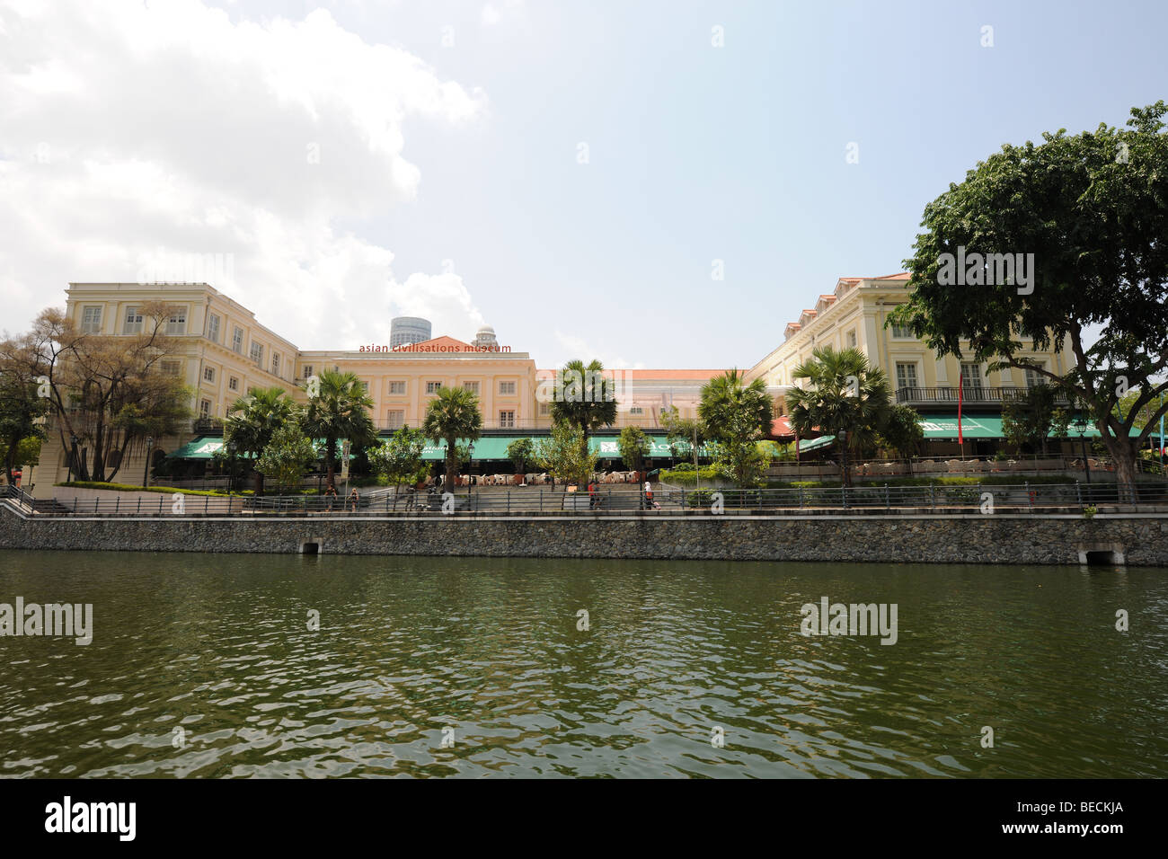 Asian Civilisations Museum from the Singapore River, Singapore - Stock Image