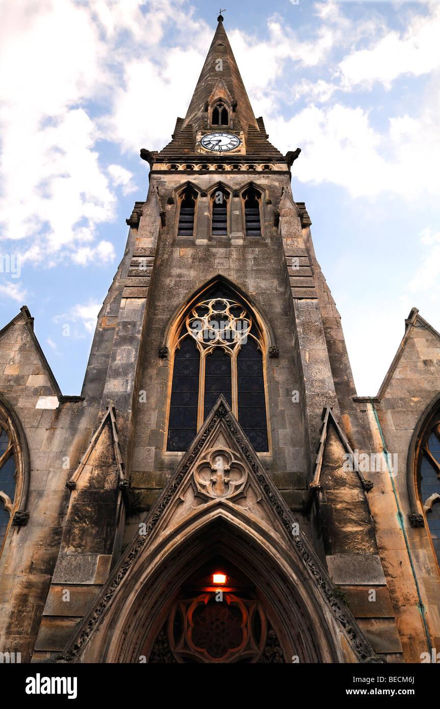 Tower of the Free Church, Market Hill, St. Ives, Cambridgeshire, England, United Kingdom, Europe - Stock Image