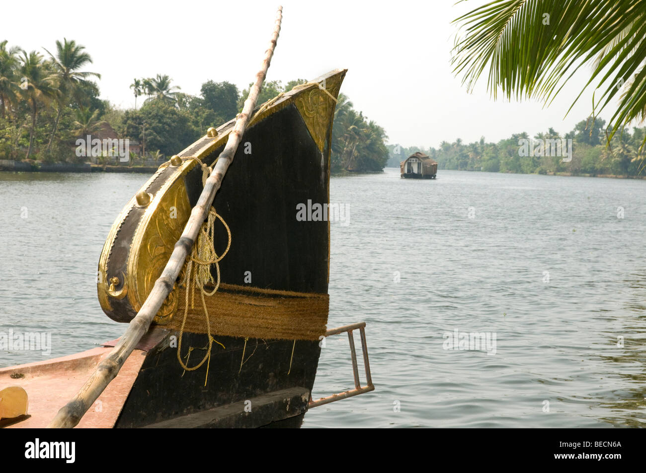 Kettuvallam,house boat in the Kerala Backwaters - Stock Image