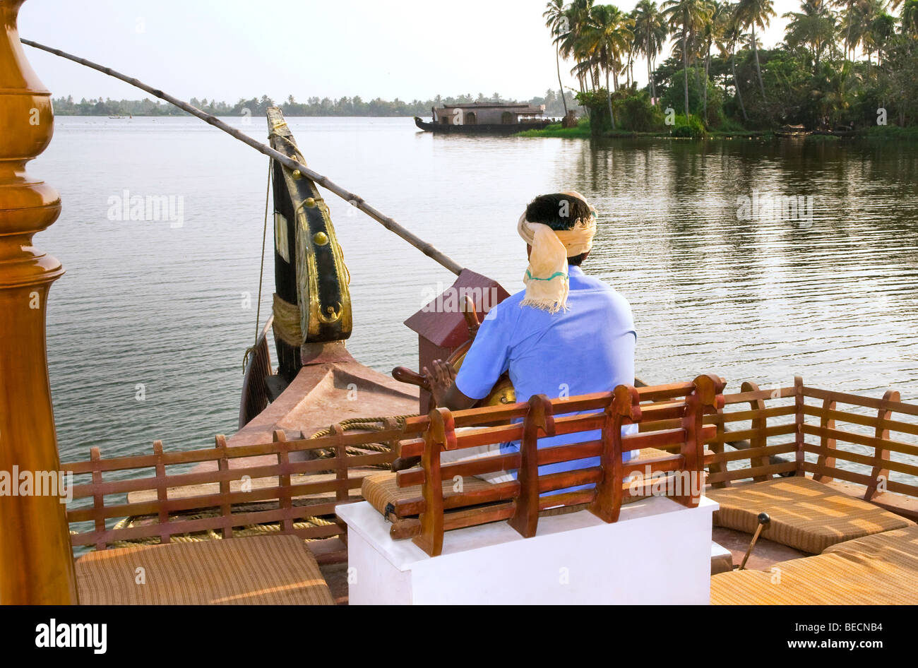 Kettuvallam,house boat in the Kerala Backwaters merandering along at  Lake  Vembanad,South India - Stock Image