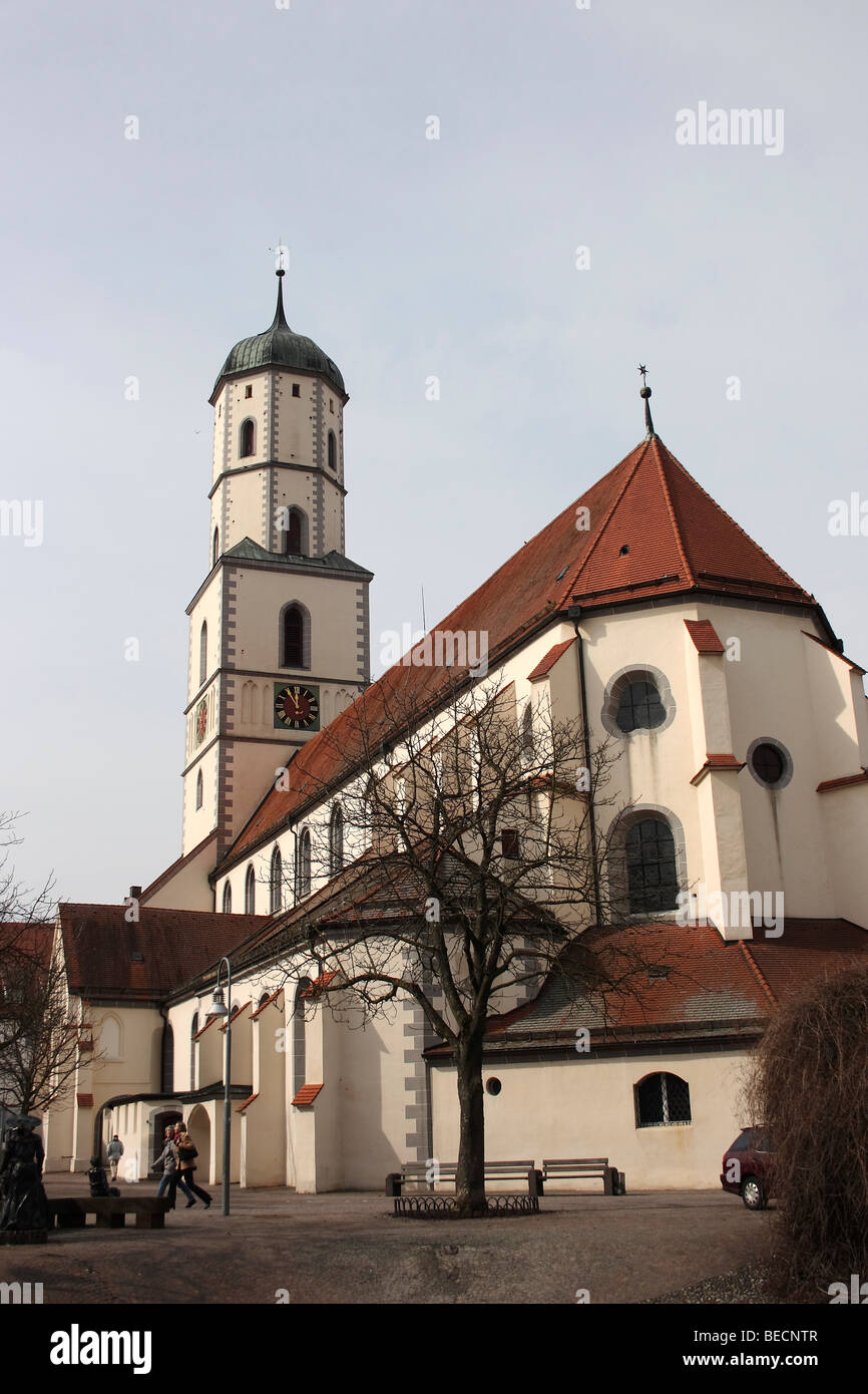 St. Martins church, view from church square, Biberach an der Riss, Upper Swabia, Baden-Wuerttemberg, Germany, Europe - Stock Image
