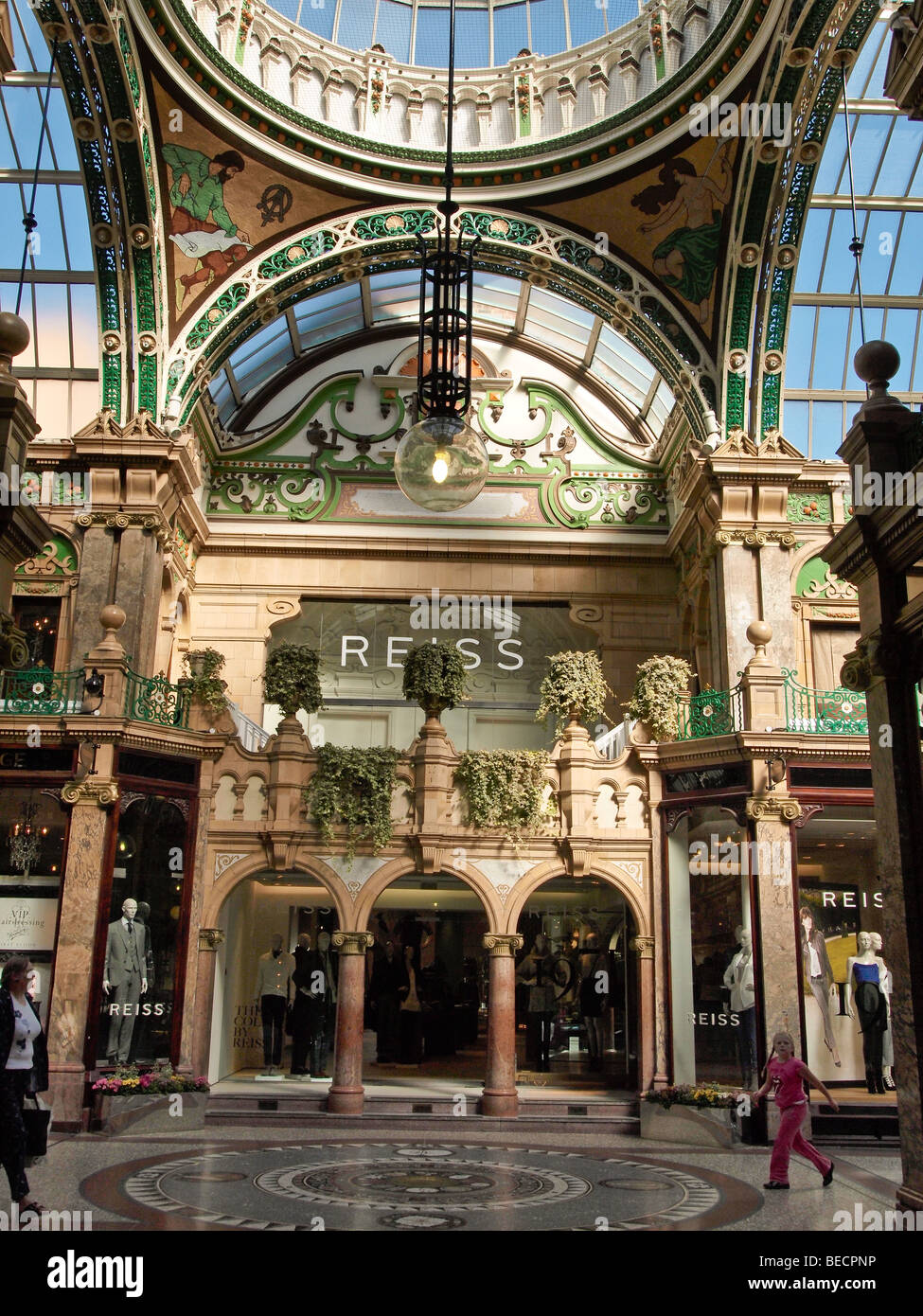 Crossing of the County Arcade Leeds UK - Stock Image