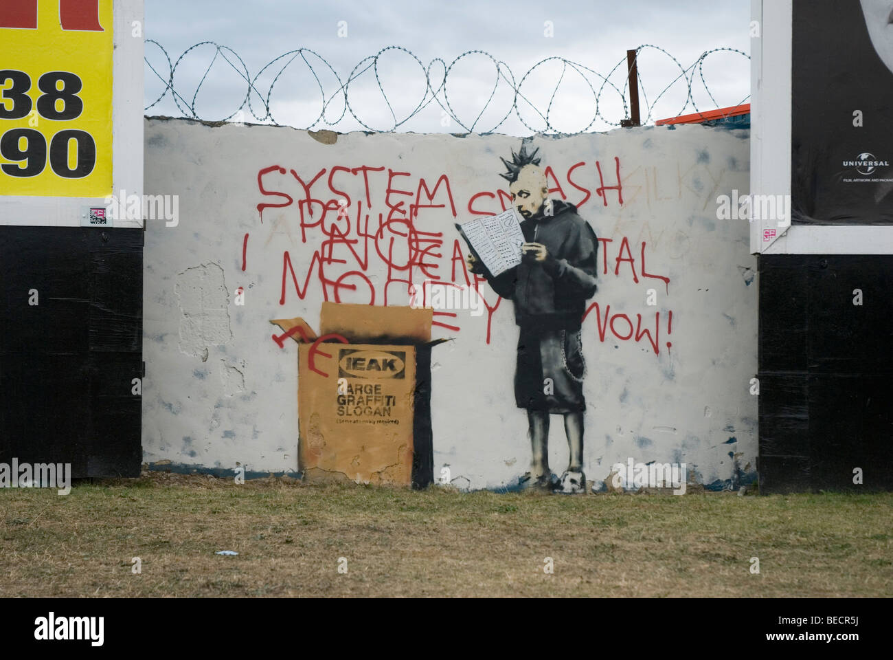 banksy croydon grafitti art - Stock Image