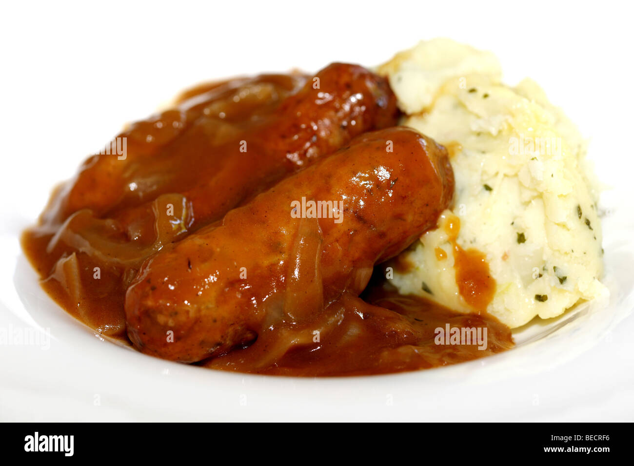 Lincolnshire Sausages With Cheddar And Bacon Mash Potatoes Bubble And Squeak And No People Stock Photo