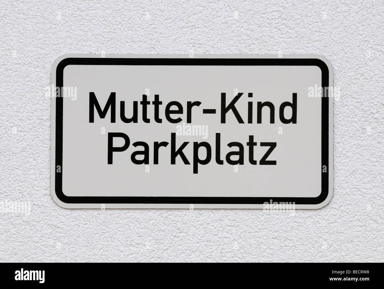 Sign: Mother-child parking area, reserved parking area - Stock Image