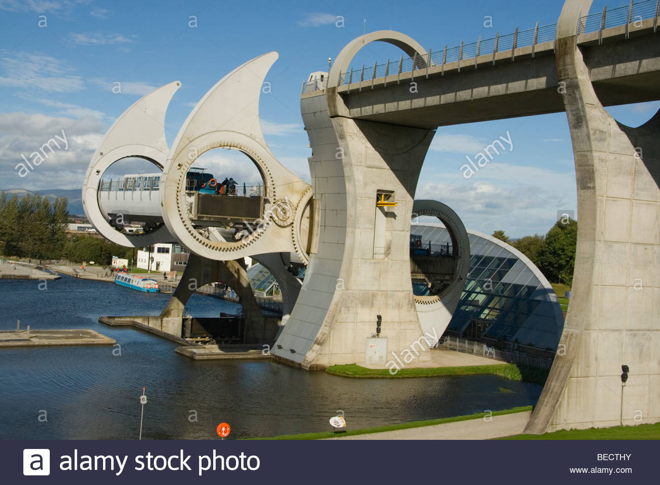 Scotland Falkirk Wheel Gondola in Rotation - Stock Image