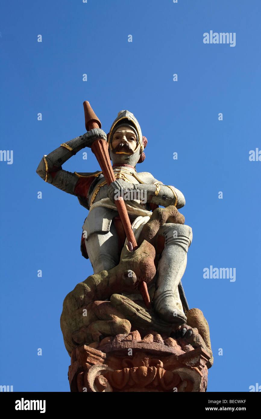 Fountain sculpture, Ulm an der Donau, Upper Swabia, Baden-Wuerttemberg, Germany, Europe Stock Photo