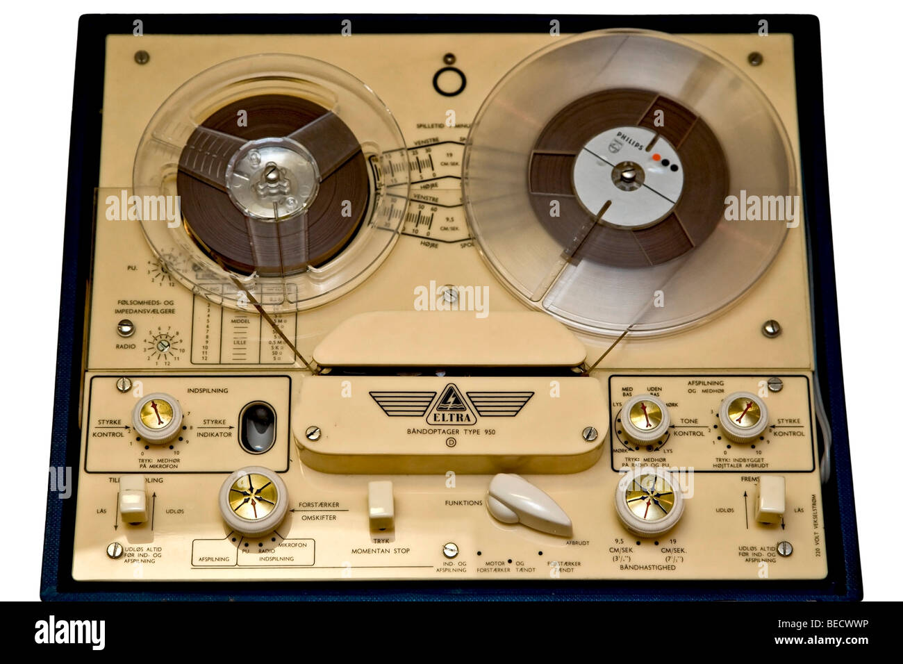 Old reel to reel tape recorder - Stock Image