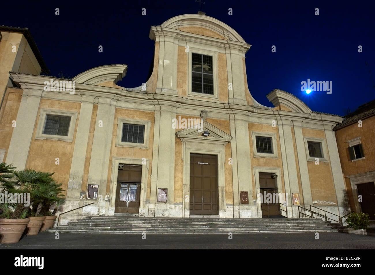 Rome, Italy. Chiesa San Francesco a Ripa, in the Trastevere ward, by night. - Stock Image