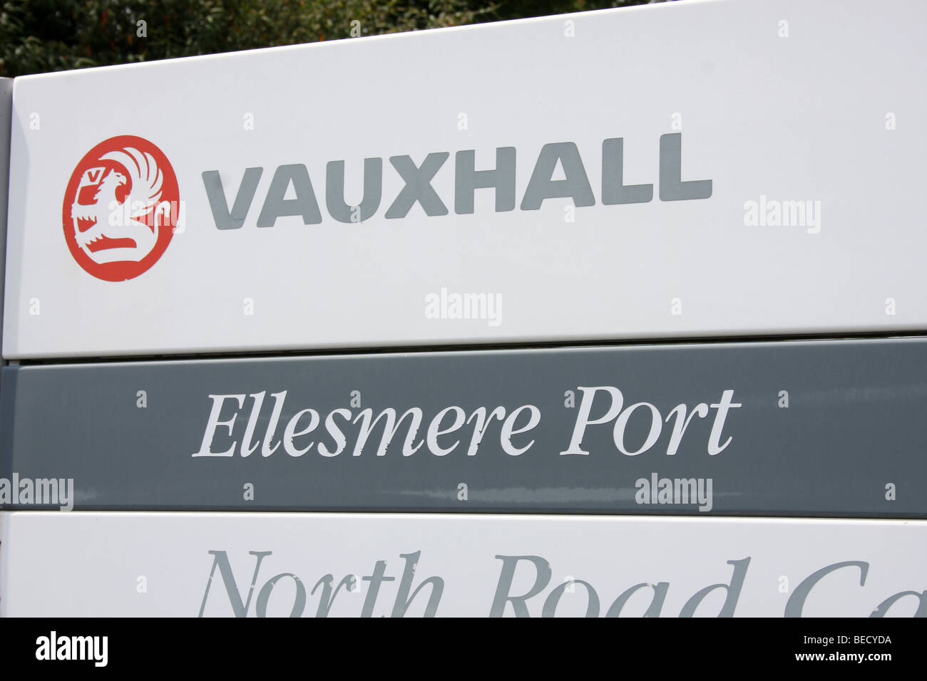 Vauxhalls car factory signeage outside the Ellesmere Port factory - Stock Image
