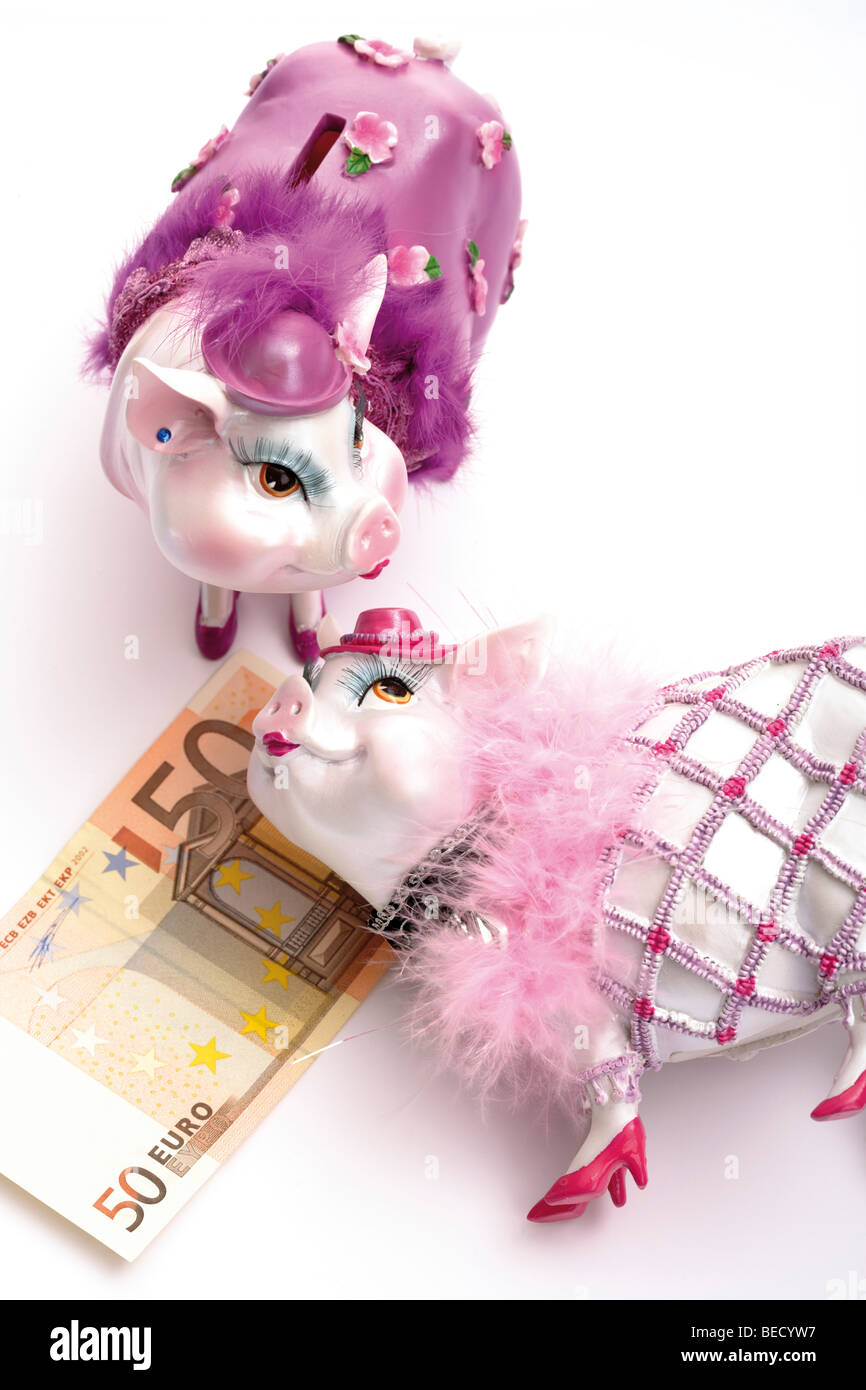 Piggy Banks Dressed Up With 50 Euro Banknote Stock Photo 26100851