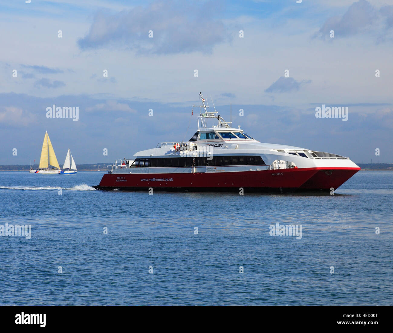 Red Jet 3 Red Funnel catamaran crossing from Southampton to Cowes. - Stock Image