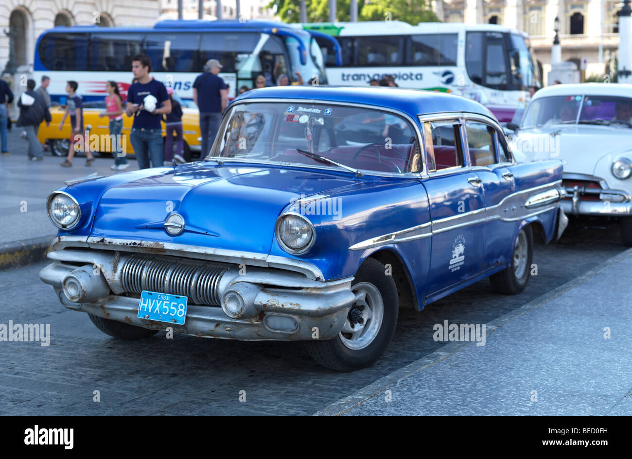 A historic blue american car / oldtimer in the streets of Havanna, Cuba, pictured on March 1, 2009. - Stock Image