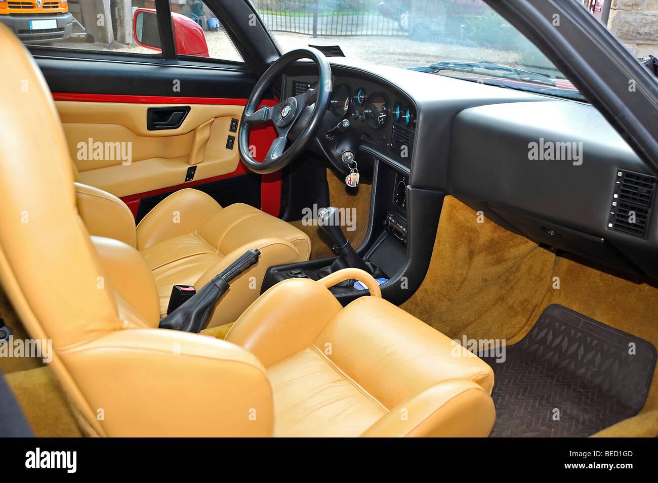 Alfa Romeo Zagato SZ classic Italian sports car interior Stock Photo ...
