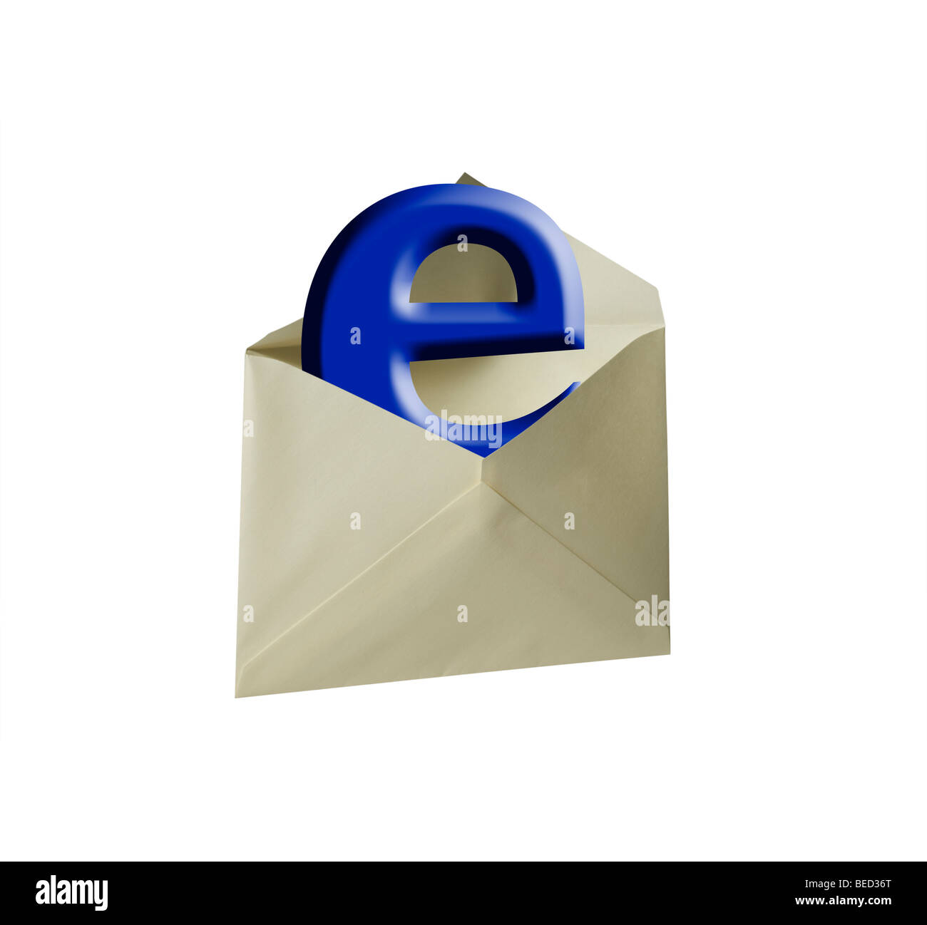 Blue E letter placed in envelope as e-mail - Stock Image