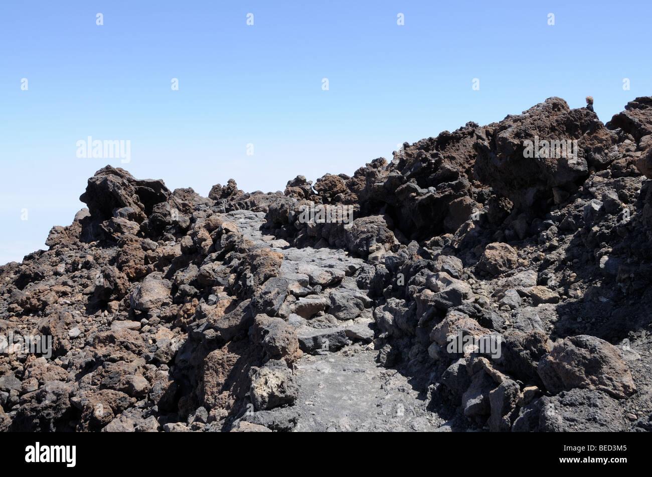 Path in lava field on top of Teide volcano, Tenerife Spain - Stock Image