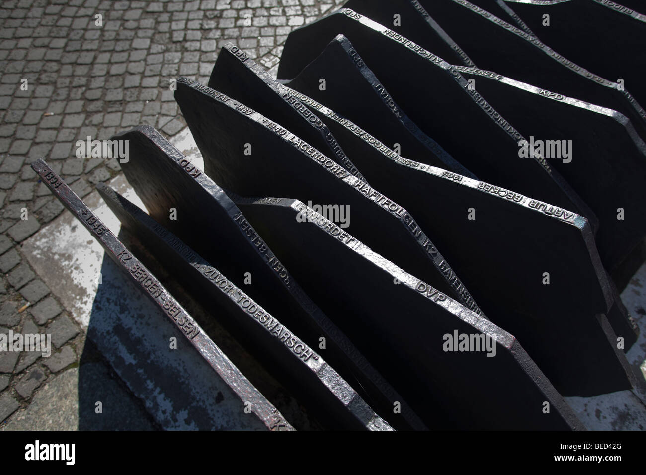 Berlin - memorial to Members of Parliament murdered by Nazis opposite the Reichstag parliament building - Stock Image