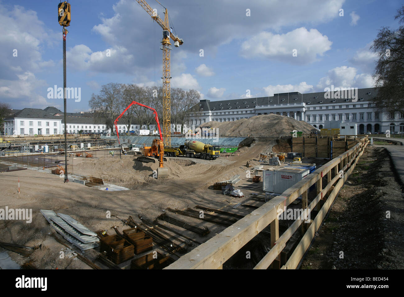 Construction work for the Bundesgartenschau Federal horticulture show 2011 at the Kurfuerstliches Schloss Electoral Stock Photo
