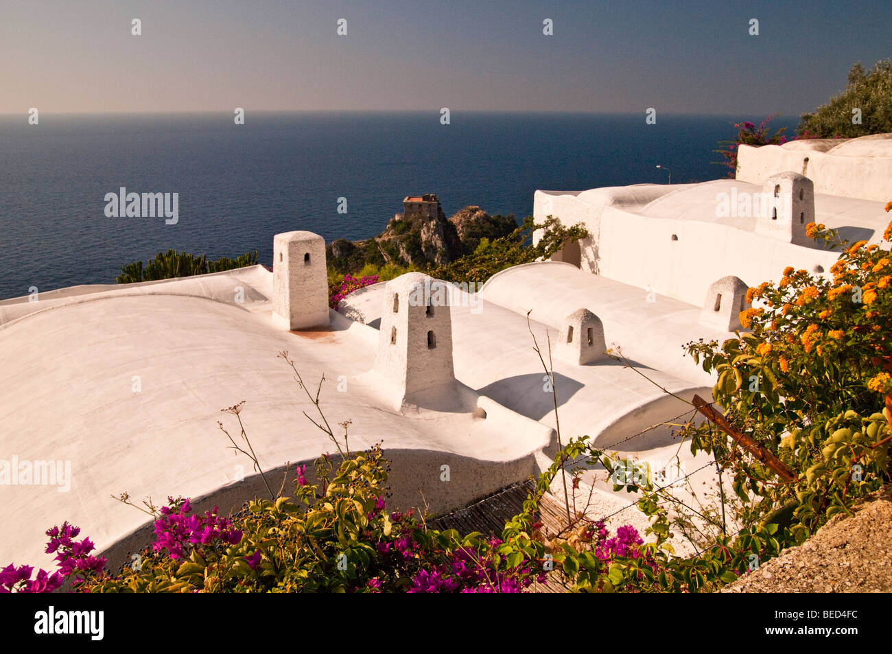 Rooftops, castle and sea, Conca Dei Marini, Italy - Stock Image